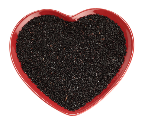 black rice in heart bowl