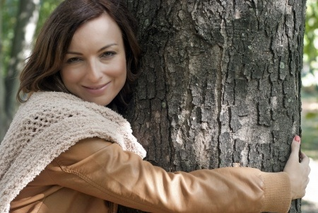 woman tree hugging