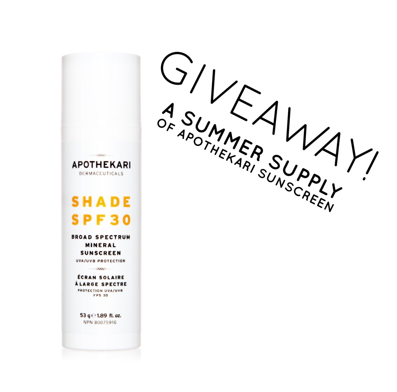 Apothekari Shade SPF 30 Sunscreen Giveaway