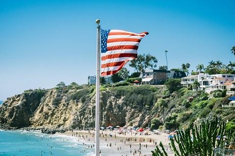 american flag beach