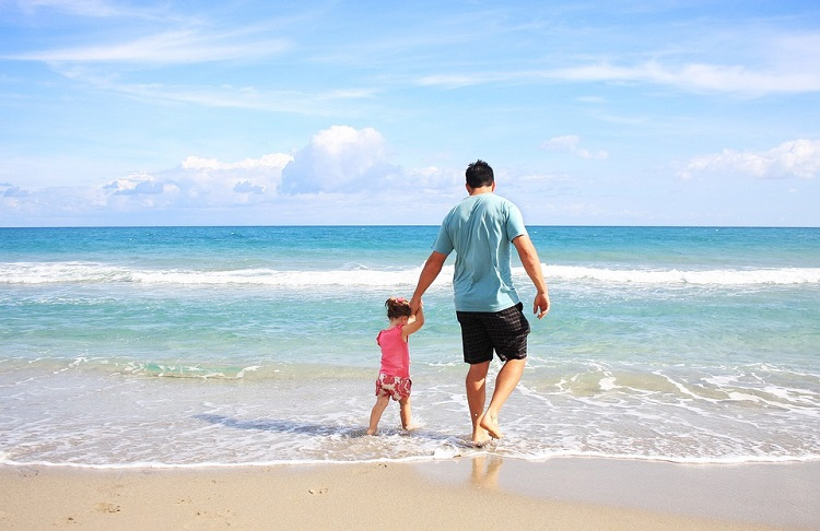 Father Daughter on Beach Pixabay