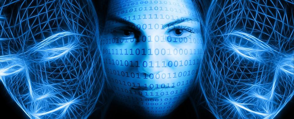 woman in blue light